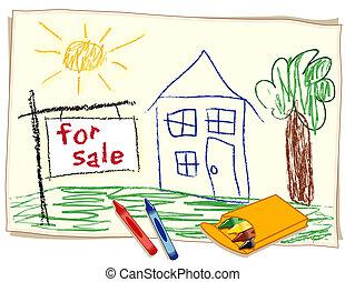 待售, 房地產 標誌, 粉筆
