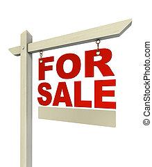 待售, 紅色, 房地產 標誌, 僅僅, 由于, 信件
