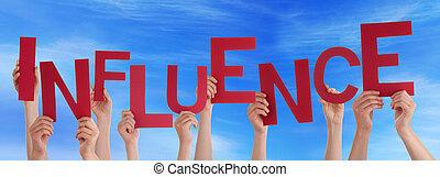 很多, 人們, 手, 藏品, 紅色, 詞, 影響, 藍色的天空