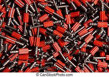 很多, 家具, 紅的背景, 螺絲