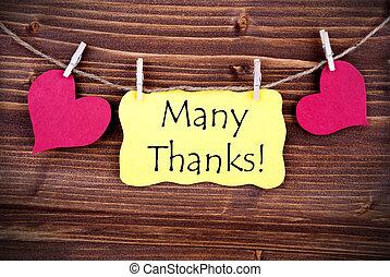 很多, 感謝, 上, a, 標簽, 擬訂, 所作, 心