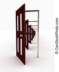 很多, 打開, 門, 被隔离, 在懷特上, 背景。, 3d, 圖像