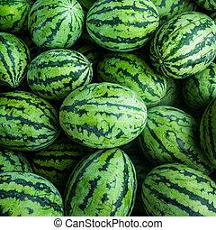 很多, 甜, 西瓜, 綠色, 組