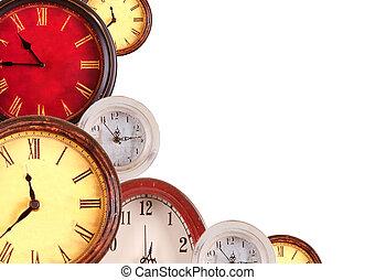 很多, clocks, 上, a, 白色 背景