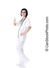 很好, 醫生, 年輕, 或者, 女性, 護士, 手勢