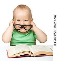 很少, 书, 玩, 玻璃杯, 孩子