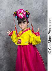 很少, 傳統, 亞洲的女孩, 韓國語, 衣服, 穿戴