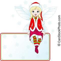 很少, 地方, 圣誕節卡片, 仙女