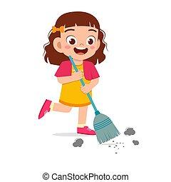 很少, 地板, 清扫, 开心, 漂亮, 孩子, 女孩
