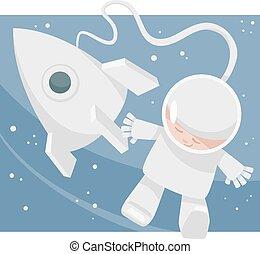 很少, 太空人, 卡通, 插圖