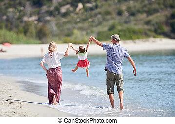 很少, 海滩, 海, 家庭, 孩子