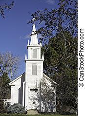 很少, 白色, 樹, 教堂