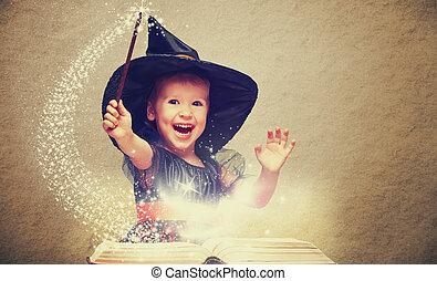 很少, 魔棒, halloween., 快樂, 發光, 書, 巫婆