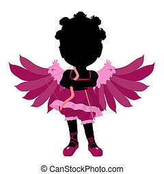 很少, african american, 丘比特, 女孩, 插圖, 黑色半面畫像