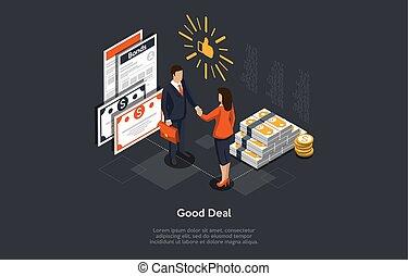 後で, 取引, 合意, ベクトル, 手, 人々, イラスト, 動揺, 成功した, 保証, バックグラウンド。, 紙幣, 山, 等大, concept.
