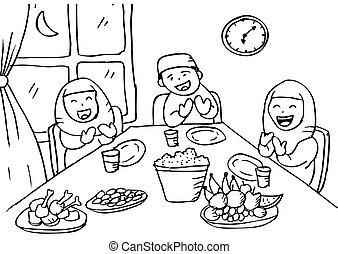 後で, 家族, muslim, イラスト, eating., 祈ること