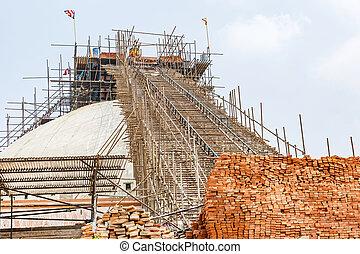 後で, boudhanath, stupa, 地震