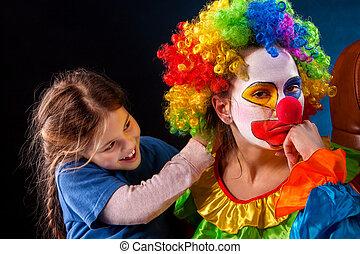 後で, clown., 親, family., 仕事, 単一, birthday, 成人, お母さん, 子供,...