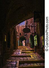 後で, tel-aviv, 古い 都市, 夕方, 雨, israel., jaffa, 通り
