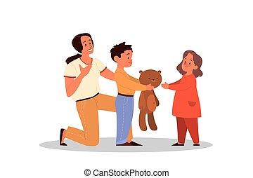 後ろ足で立つ, わずかしか, テディ, 親であること, 男の子, concept., 共有, 彼の, 子供
