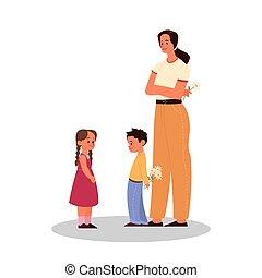 後ろ足で立つ, わずかしか, 親であること, 男の子, 寄付, concept., 花, 子供
