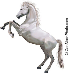 後ろ足で立つ, イラスト, 馬