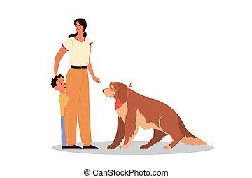 後ろ足で立つ, 愛, 子供, 親であること, 彼女, concept., 息子, animals., 女, 教えなさい
