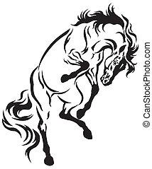 後ろ足で立つ, 馬, 入れ墨