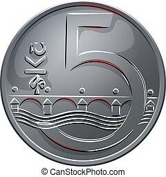 後退しなさい, チェコ, お金, ベクトル, 5, コイン, crones