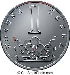 後退しなさい, チェコ, お金, 1(人・つ), ベクトル, コイン, crones