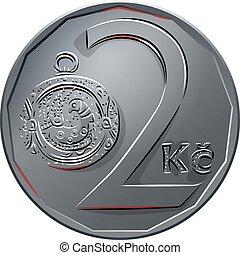 後退しなさい, チェコ, お金, 2, ベクトル, コイン, crones