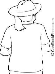 後部光景, の, 女, 中に, 帽子, アウトライン