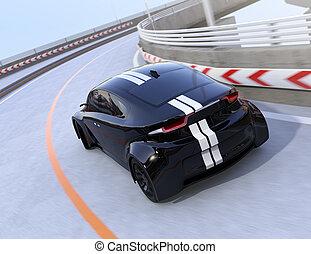 後部光景, の, 黒, 電気である, スポーツカー, 運転, 上に, ∥, ハイウェー