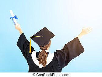 後部光景, 卒業生, 学生, 保有物, 卒業証書, 隔離された