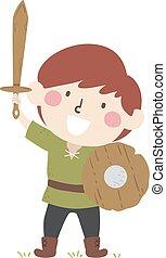 徒弟, 男の子, 子供, 木製である, 保護, ページ, 剣