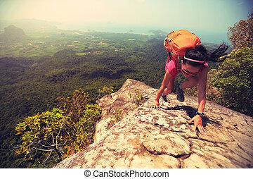 徒步旅行者, 石头, 年轻, 攀登, 亚洲人, 高峰, 悬崖, 妇女, 山