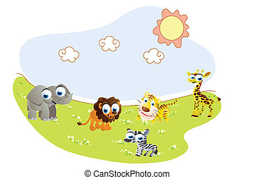 徒步旅行隊 動物, 卡通