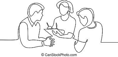 従業員, について, 線, 考え, 図画, 論じなさい, 1(人・つ), 仕事
