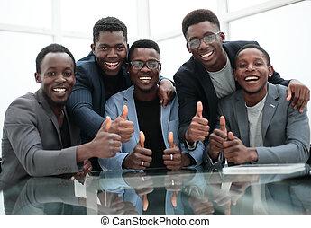 従業員, グループ, 諦める, 親指, 微笑