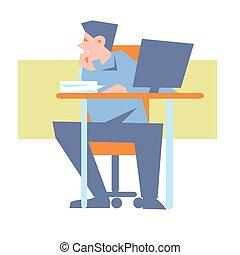 従業員, テーブル, 当惑させている, コンピュータ, 若い