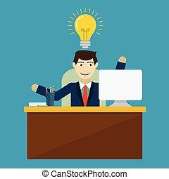 従業員, ベクトル, 考え, イラスト, 革新