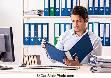 従業員, マレ, 労働者のオフィス, 若い