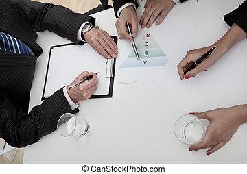 従業員, ミーティング, 3, ビジネス