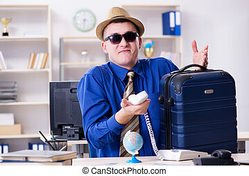 従業員, 旅行, 休暇, 準備, 若い