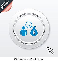 得なさい, お金, シンボル。, 速い, 印, icon., ローン, 銀行