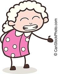 得ること, イラスト, 顔, ベクトル, いらいらさせなさい, おばあさん, 表現, 漫画