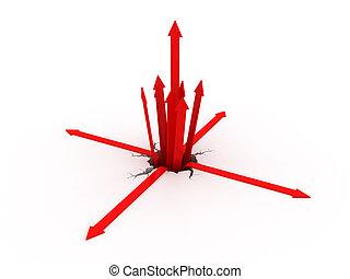 得ること, 矢, ひび, から, 赤, 地面