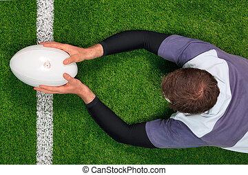 得分, 兩個都, 橄欖球, 嘗試, 表演者, hands.