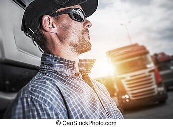 得意である, トラック, 半, 運転手