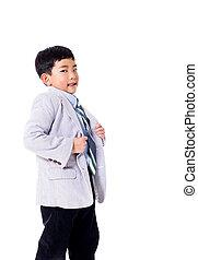 得意である, 男の子, 中に, スーツ